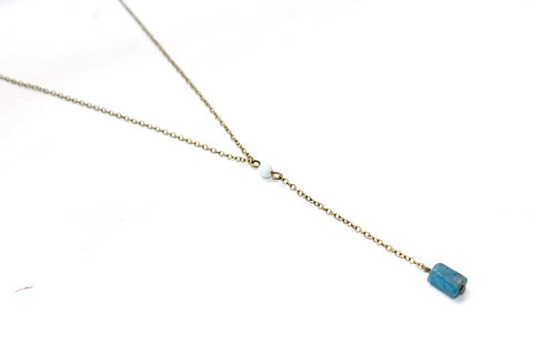 Amazonite and Apatite Y Necklace - Natural Gemstone Jewelry