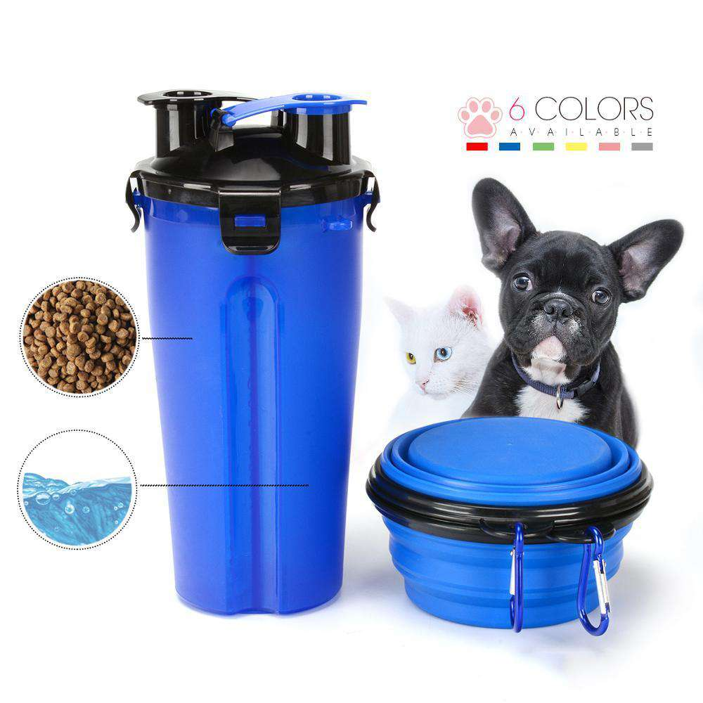 Pet Travel Water & Food Bottle With Foldable Bowl - Blazing Dealz
