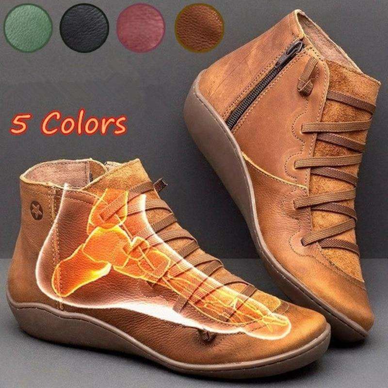 New Arch  Support Leather Boots - Discounts You May Like