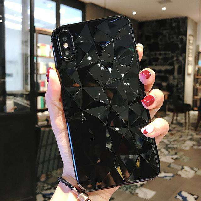 3D Diamond Texture Black Case for IPhone Phones - Discounts You May Like