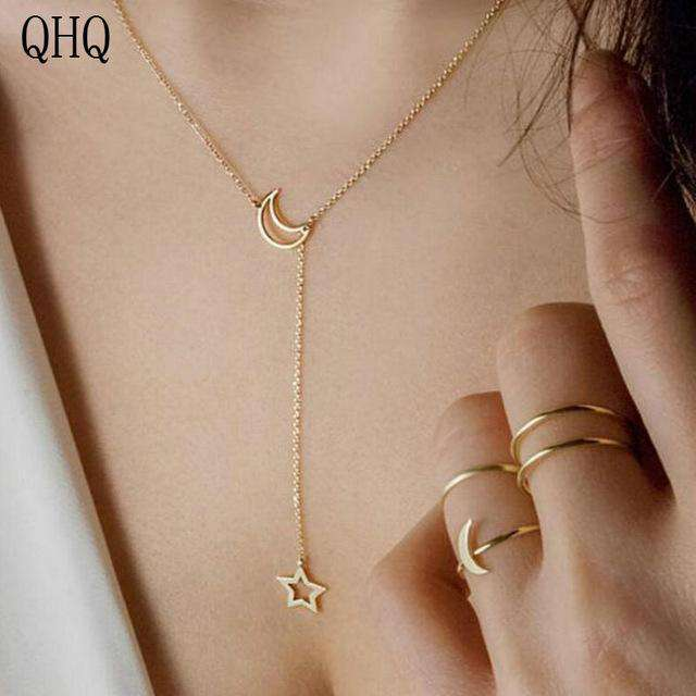 Stars Geometric pendant necklace chain chocker - Discounts You May Like