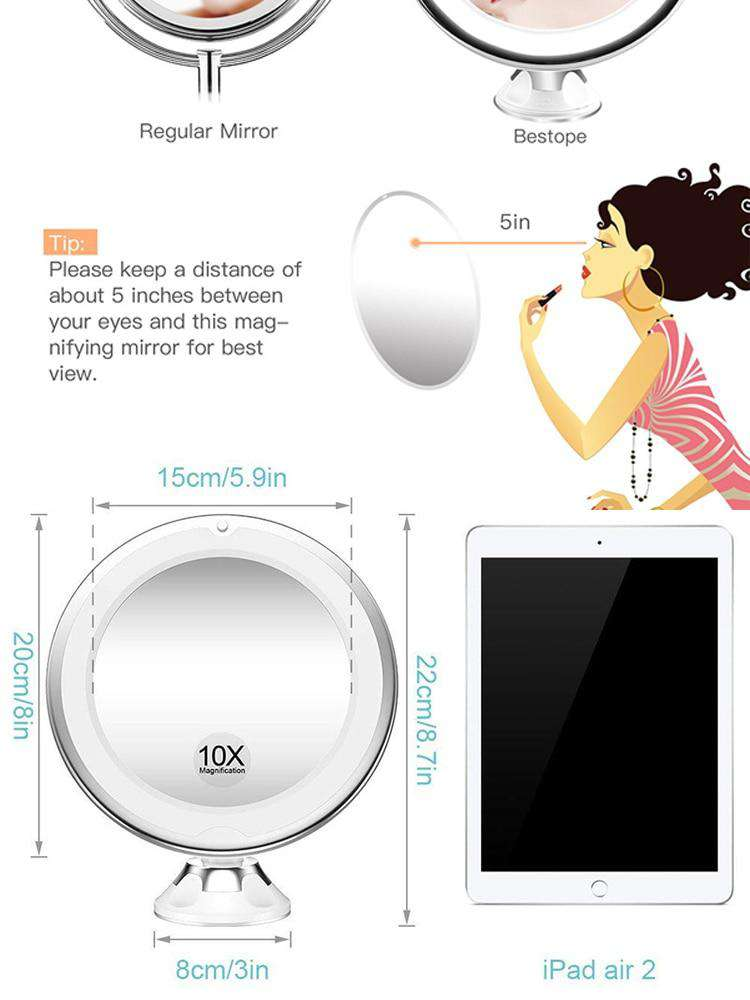 10 x Magnifying LED Lighted Makeup Mirror - Discounts You May Like
