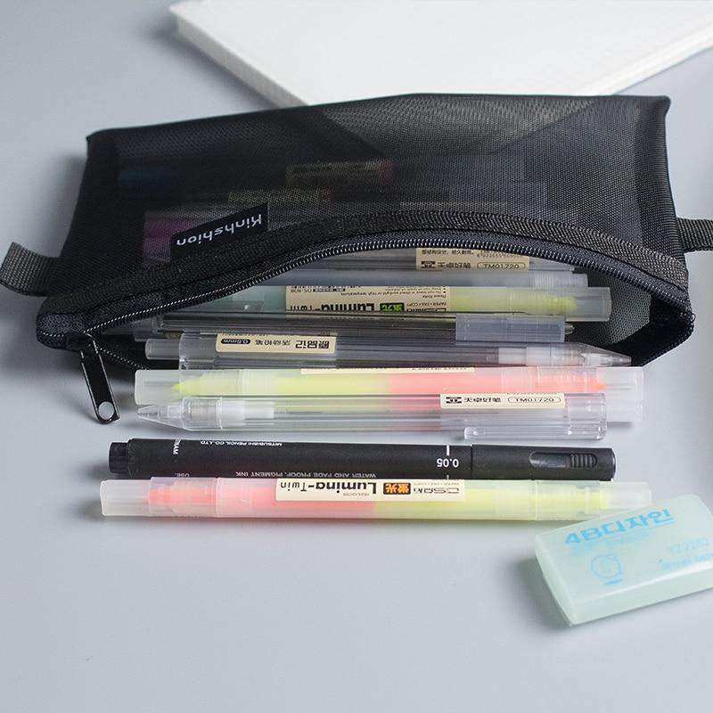 Simple Transparent Mesh Pencil Case - Discounts You May Like