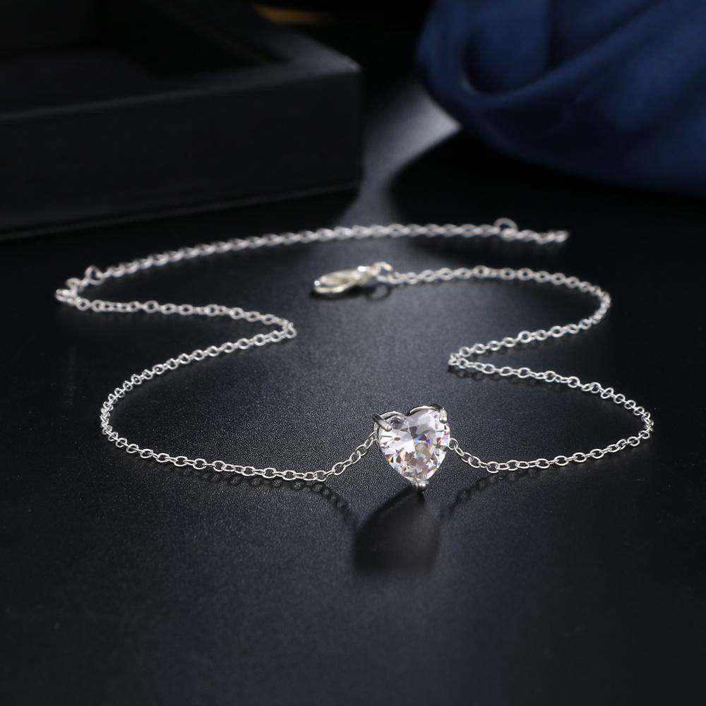 Fashion Zircon Crystal Heart Necklace Chocker - Discounts You May Like