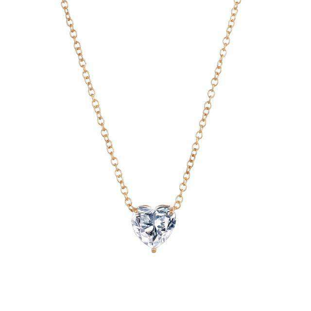 Fashion Zircon Crystal Heart Necklace Chocker - Blazing Dealz