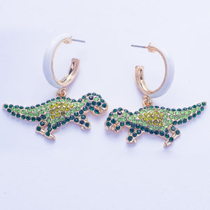 Saurus Earrings - Green