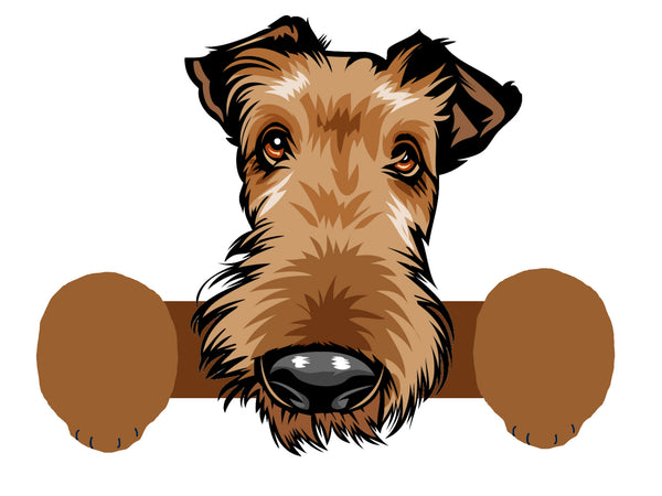 Wooden Airedale Dog Fence Peeker Outdoor Yard Garden Party Dog Park Decoration