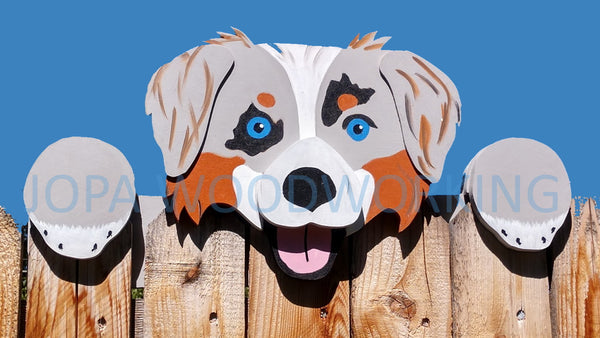 Australian Shepherd Fence Peeker Yard Art Garden Playground Decoration