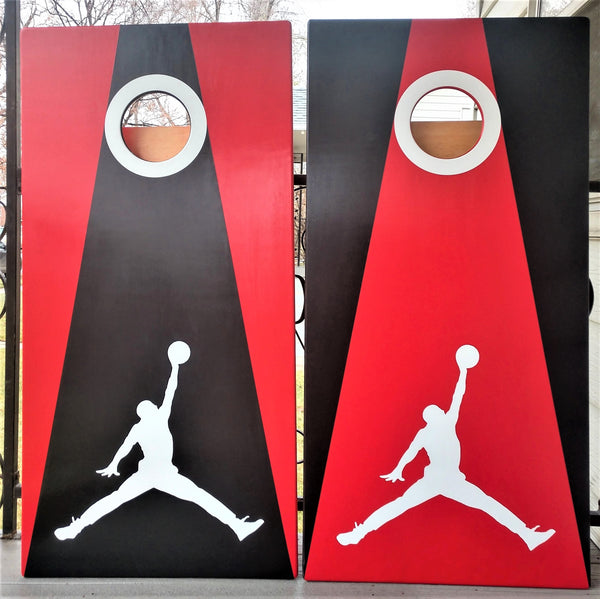 Basketball Cornhole Set Red and Black with Red and Black Bags
