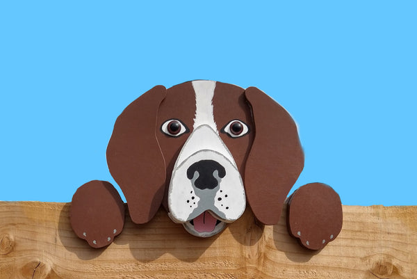 Beagle Dog Fence Peeker Yard Art Garden Playground Decoration