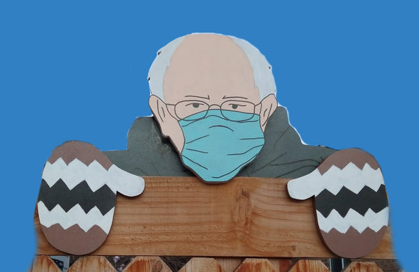 Bernie Sanders Fence Peeker Yard Art Garden Decoration for Donation