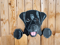 Black Labrador Retriever Dog Decorative Fence Peeker Yard Art Playground Garden Party