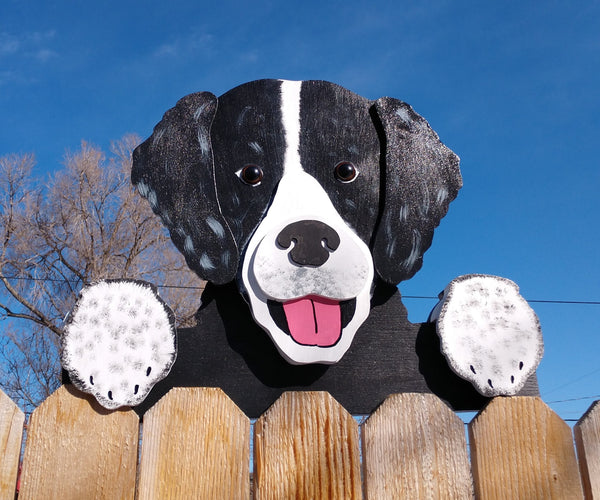Black and White Spaniel Fence Peeker Yard Art Garden Playground Decoration