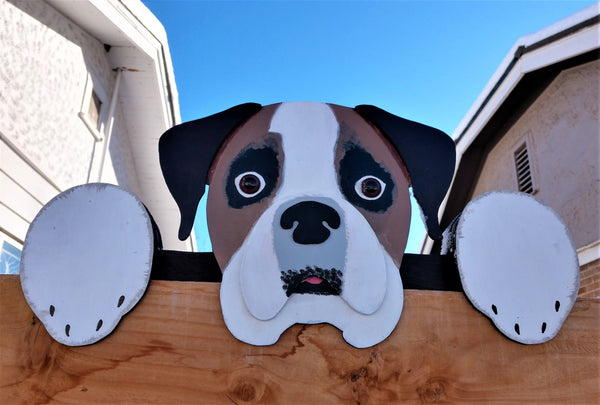 Boxer Dog Fence Peeker Decoration Yard Art Garden Party Playground