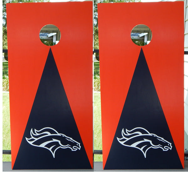 Denver Bronco Football Cornhole Set Includes Orange and Blue Bags