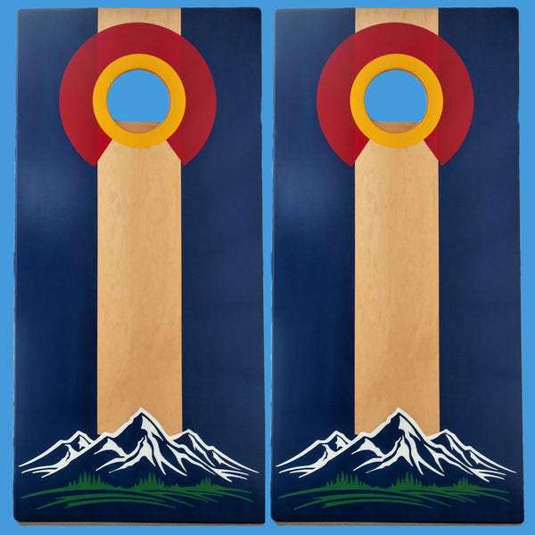 Colorado Flag With Mountains Cornhole Bean Bag Game Set Natural Center with Bags