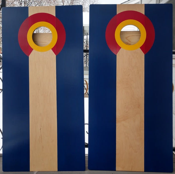 Colorado Flag Cornhole Bean Bag Game Set Natural Center with Bags