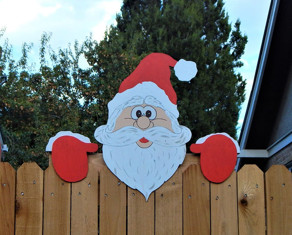 Santa Claus Christmas Fence Peeker Outdoor Decoration