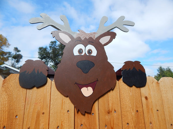 Reindeer Christmas Holiday Fence Peeker Outdoor Decoration