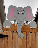 Eleanor the Elephant Fence Peeker Outdoor Yard Garden Decoration