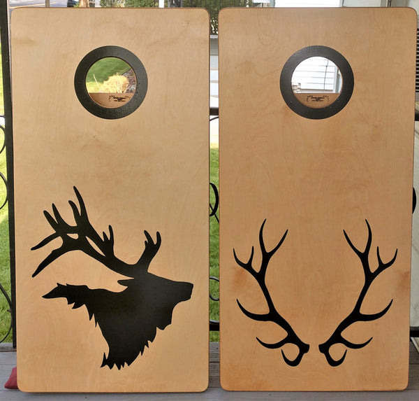 Elk on Natural Pecan Stain Custom Cornhole Set