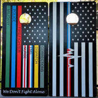 First Responders Police Fire EMS Dispatch We Don't Fight Alone Wrap Cornhole Set