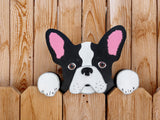 French Bulldog Fence Peeker Yard Art Garden Playground Decoration