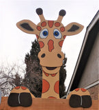 Giraffe Fence Peeker Outdoor Yard Garden Party Playground Decoration