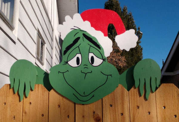 The Grinch Christmas Fence Peeker Outdoor Decoration