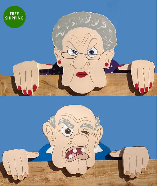 Grumpy Old Man and Grouchy Old Lady Fence Peekers Decoration Garden Yard Art