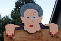 Grumpy Old Lady Fence Peeker Yard Art Garden Gag Gift Nosy Neighbor