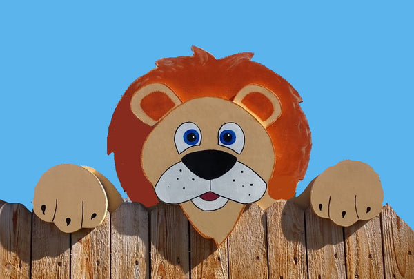 Jumbo Lion Fence Peeker Outdoor Yard Garden Party Playground Decoration
