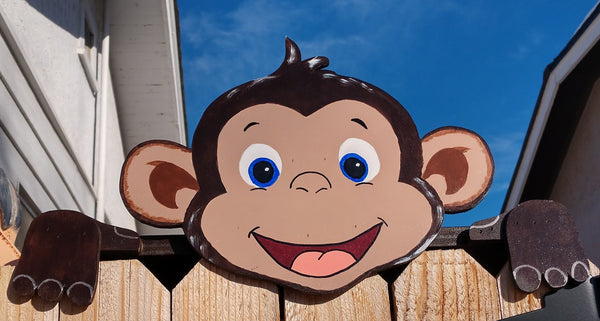 Happy Monkey Fence Peeker Peeper Garden Art Party Zoo Playground Decoration