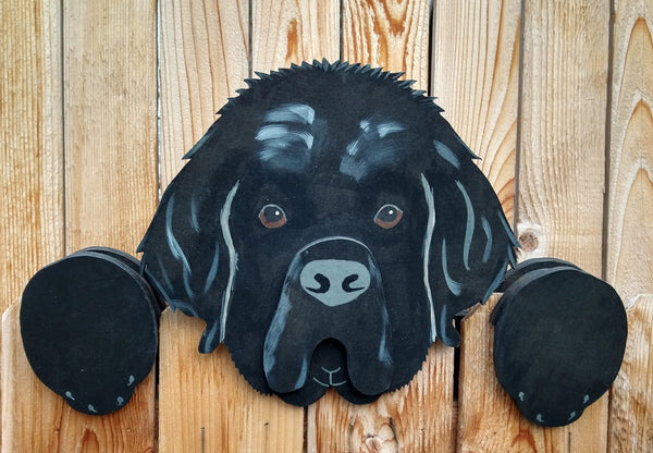 Newfoundland Dog Fence Peeker Yard Art Garden Playground Decoration
