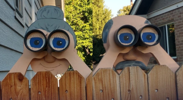 Peekin' Pete and Penelope Fence Decoration Nosy Old Man and Lady Garden Yard Art Father's Day Gag Gift