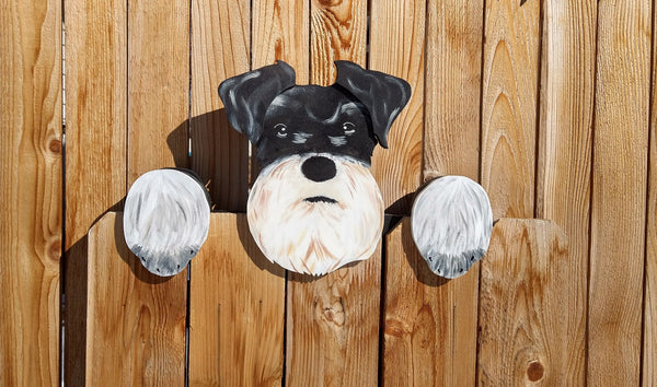 Schnauzer Dog Fence Peeker Yard Art Garden Playground Decoration