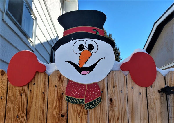 Snowman Christmas Holiday Fence Peeker Outdoor Decoration