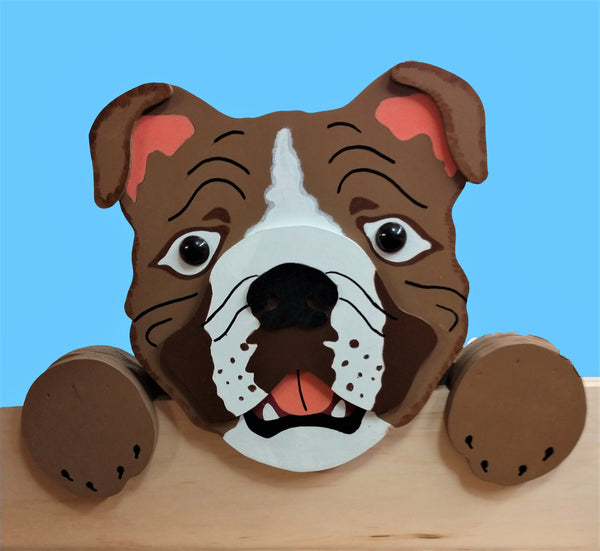 English Bulldog Fence Peeker Yard Art Garden Playground Decoration