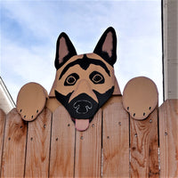 German Shepherd Dog Fence Peeker Outdoor Yard Garden Party Dog Park Decoration