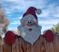Santa Claus Christmas Fence Peeker Holiday Outdoor Decoration
