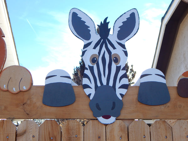 Zebra Fence Peeker Outdoor Yard Garden Party Playground Decoration
