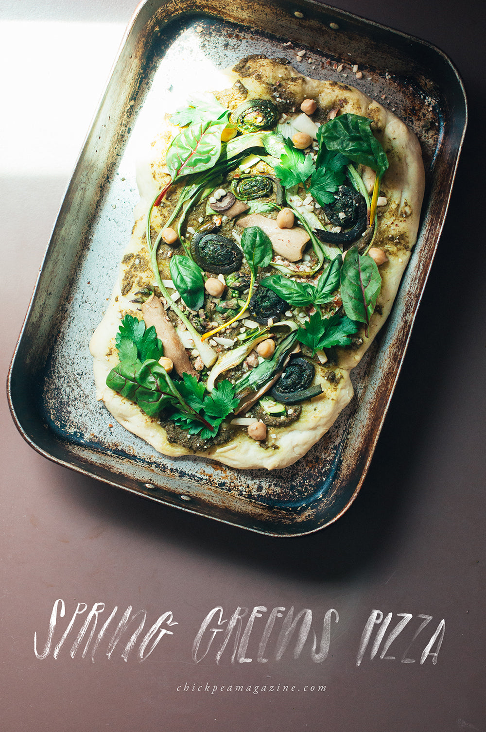 spring greens pizza