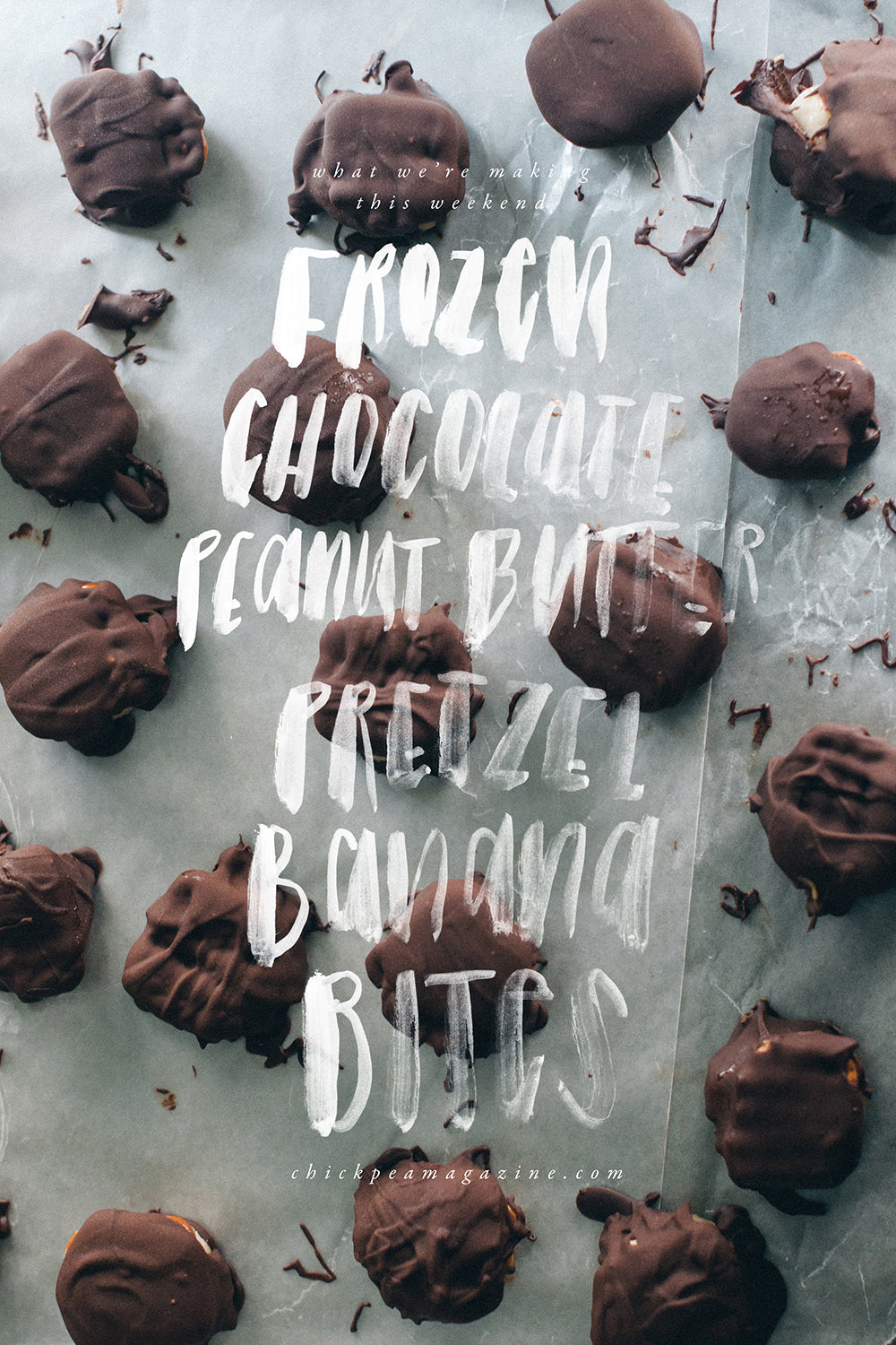 vegan frozen chocolate peanut butter pretzel banana bites