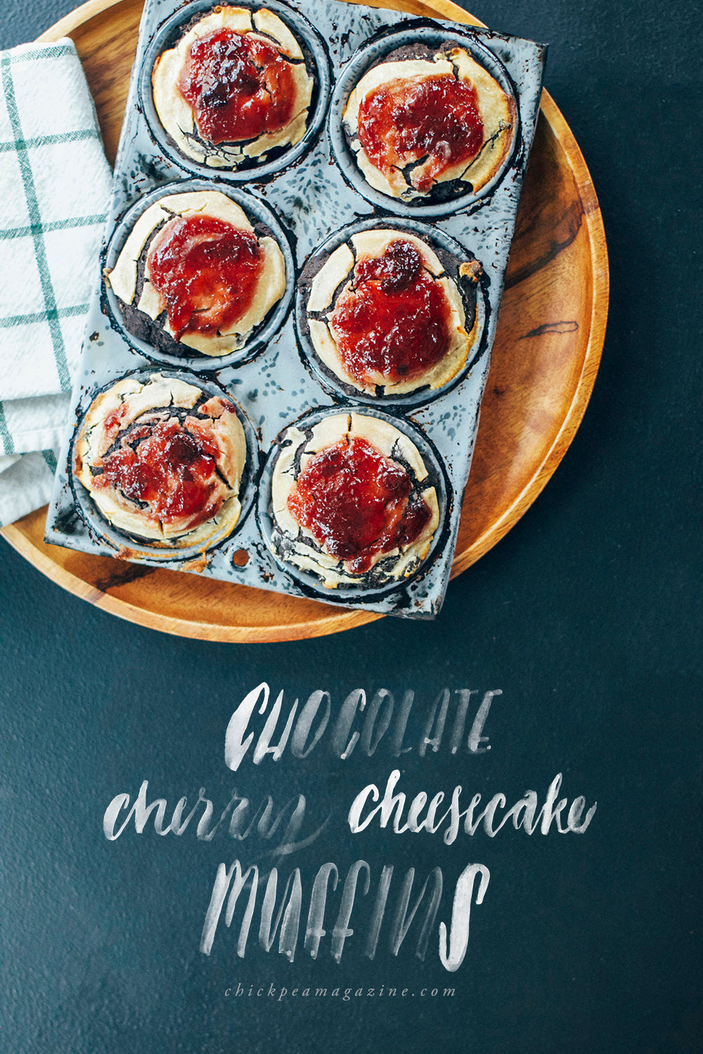 vegan chocolate cherry cheesecake muffins