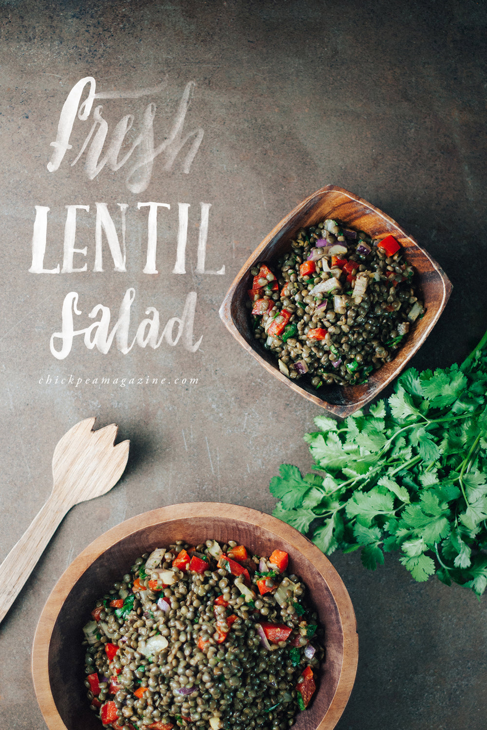 fresh vegan lentil salad