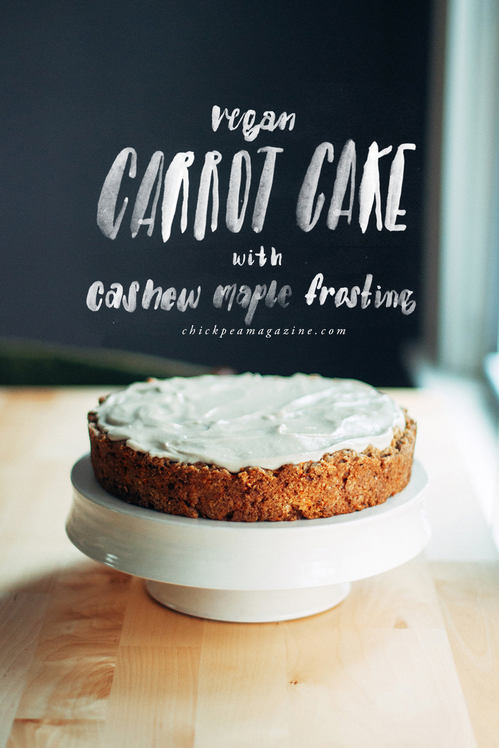 vegan carrot cake with cashew maple frosting