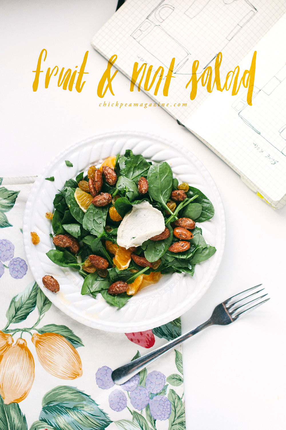 fruit and nut salad with vegan cashew cheese
