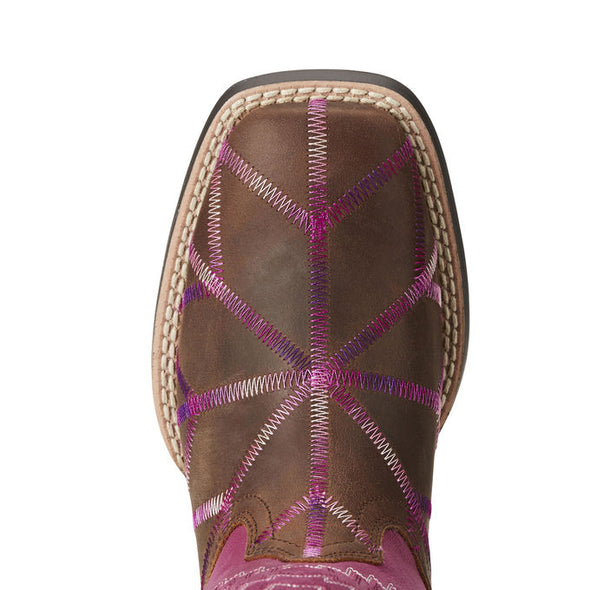 Ariat Kids Twisted Tycoon Western Boot - Distressed Brown / Plum Pink