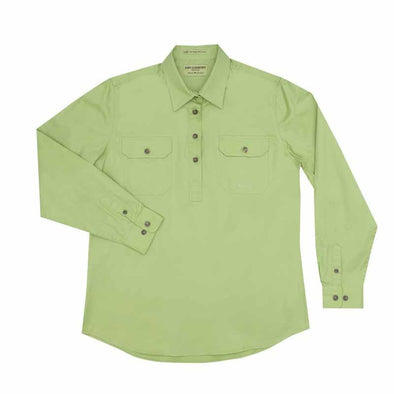 Just Country Jahna Half Button Work Shirt - Lime
