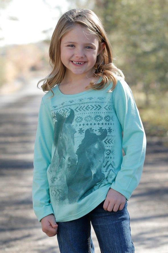 Cruel Girl - Girls Turquoise Pony L/S Tee